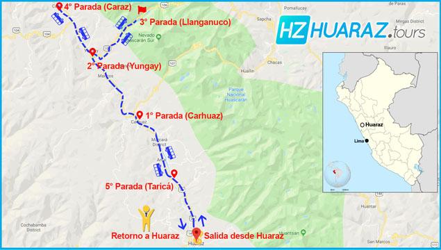 Itinerario del tour de Llanganuco