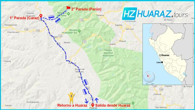 Itinerario de tours de Laguna de Parón
